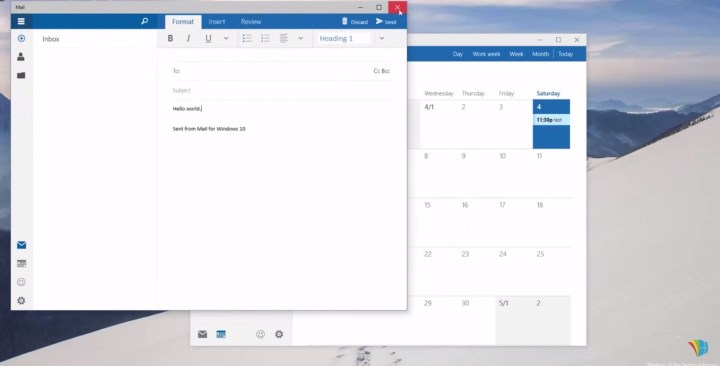 Outlook Mail and Outlook Calendar, captured by WinBeta.