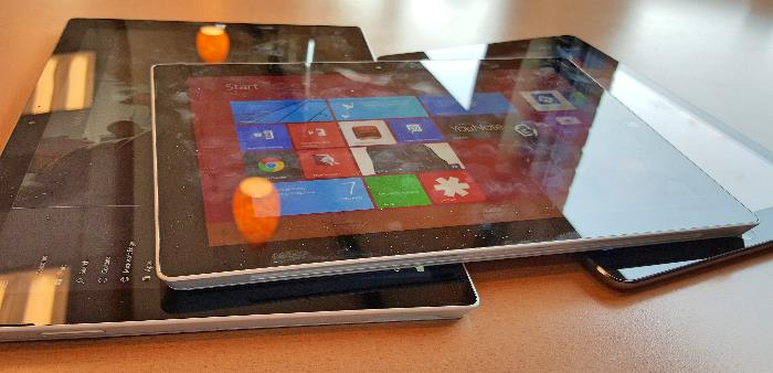 Microsoft Surface 3 with Surface Pro 3 and iPad Air