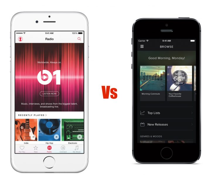 Here's how Apple Music and Spotify compare.