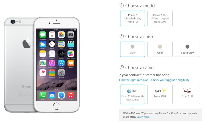 Buying the iPhone 6 at the Apple Store Online is vastly different than a week ago.