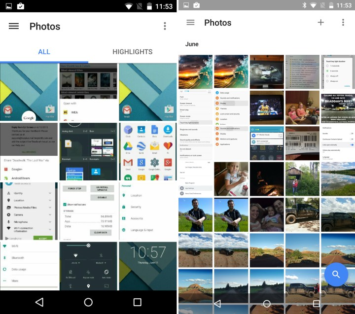 Android 5.1 vs Android M - Google Photos