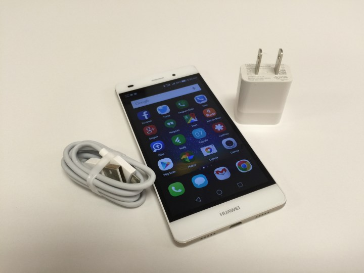 Huawei P8 Lite with charger and USB cabcle