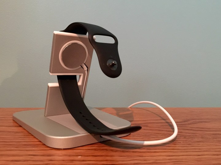 The back of the Twelve South HiRise includes a small leather portion to keep the band safe and it lifts to allow easy access to your charging cable.