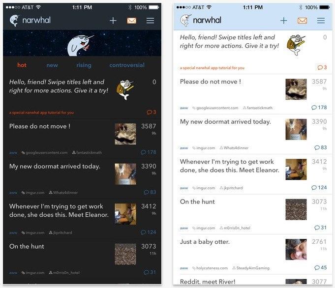 Narwhal's Night Mode vs regular mode
