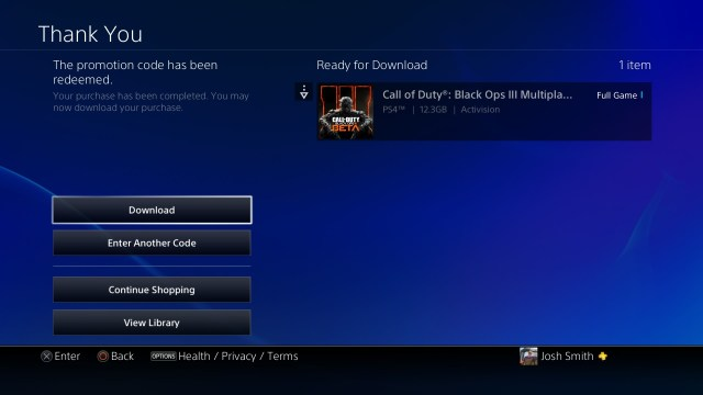 Choose to download the Call of Duty: Black Ops 3 beta to your PlayStation 4.