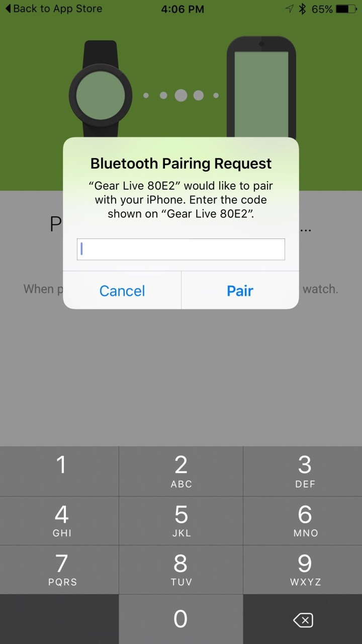 bluetooth pairing request between iphone and android wear