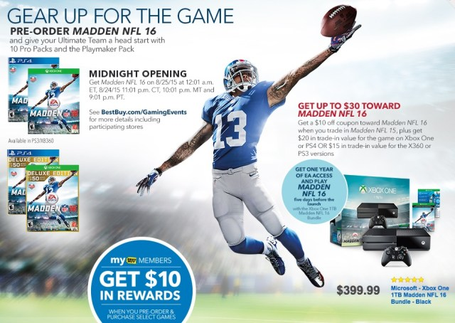 Pay as little as $7.88 for Madden 16 when you trade in Madden 15.