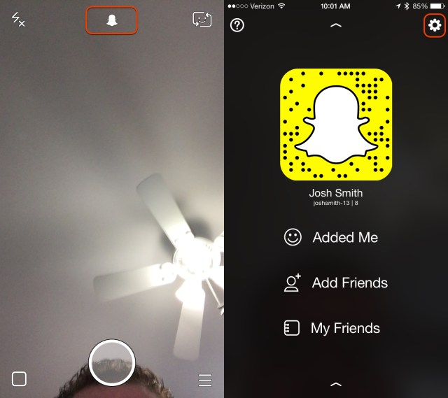Go to Snapchat settings.