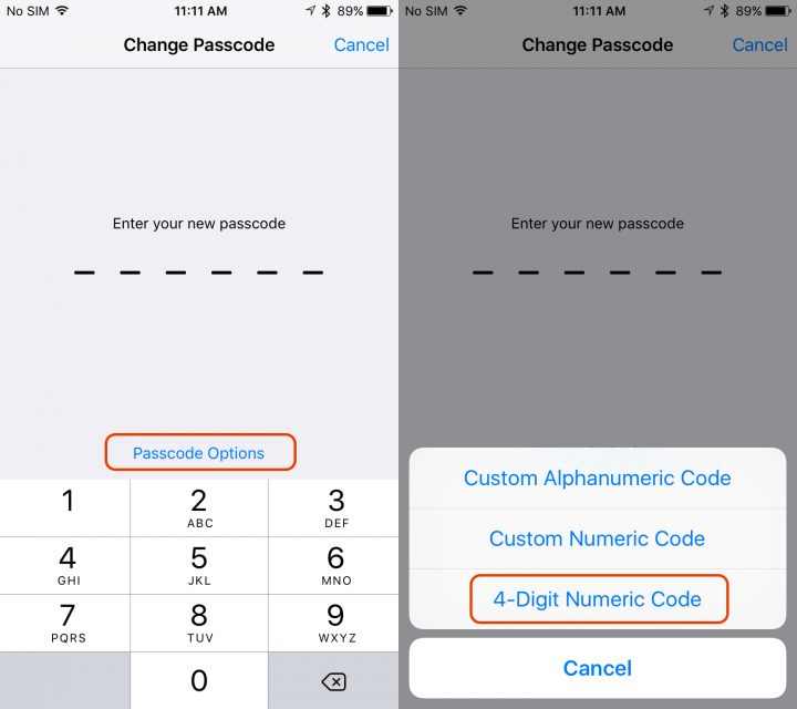 Tap to see options and choose a 4 digit passcode on iOS 9 or the iPhone 6s.