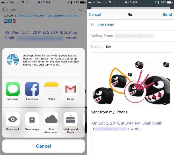 iOS 9 Tips - Markup email