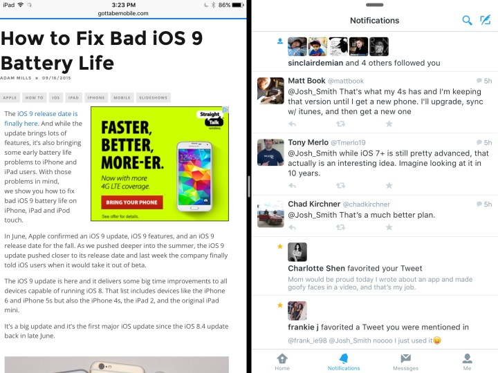 This is what the iOS 9 multitasking looks like.