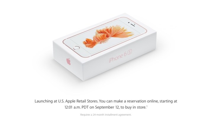 Apple confirms iPhone 6s pre-orders for in-store pickup for at least one buying option.