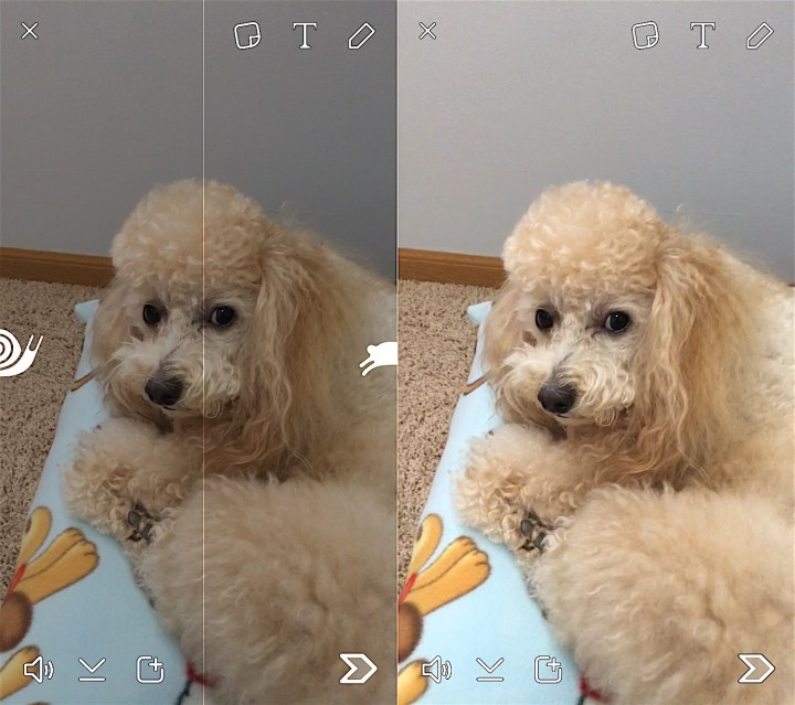 Swipe side to side to change the Snapchat video filters.