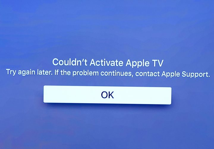 If you see this Apple TV error message trying again should solve the problem.