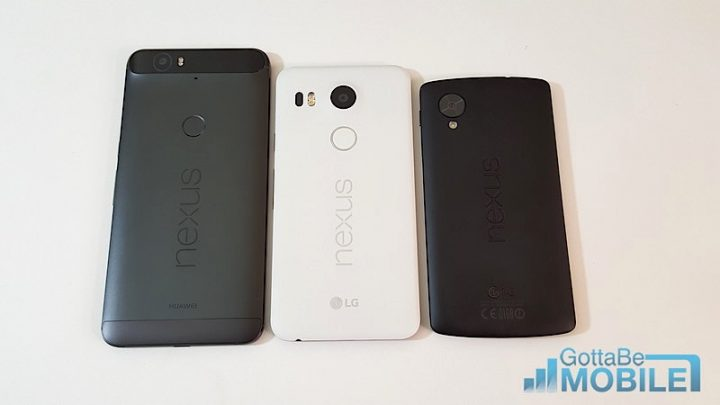 Nexus 6P, Nexus 5X, and the original 2013 Nexus 5
