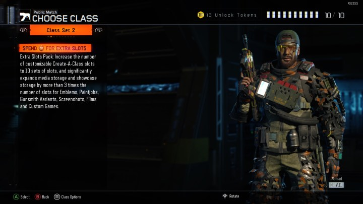 Unlock slots in Create A Class with Call of Duty Points.