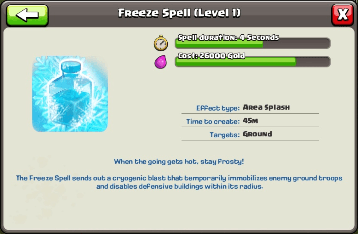Freeze Spells Available at Town Hall 9