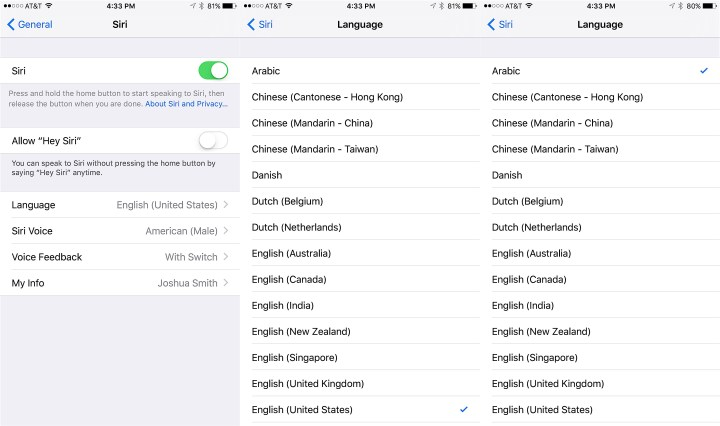 Choose Arabic then change settings you need or train Siri Now.
