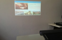 The Yoga Tab 3 Projector with overhead light off.