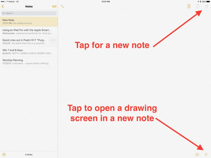 create a new note and add a drawing in ios 9 notes app