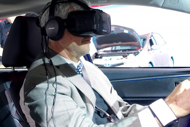 Strap on Oculus Rift and sensors to try out this distracted driving simulator at Toyota.