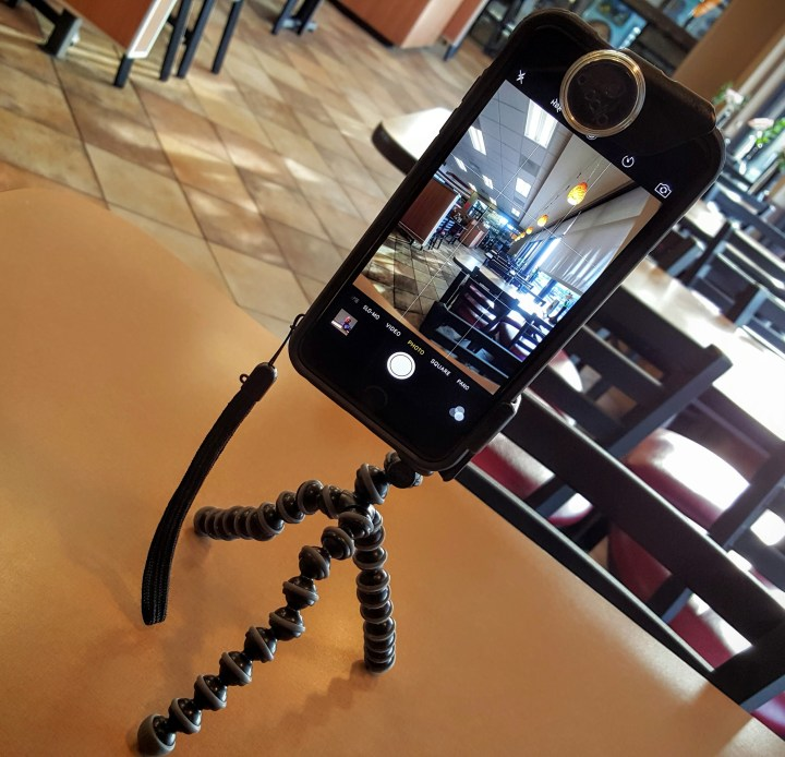 Olloclip Studio portrait orientation attachment connects iPhone 6 or 6 Plus to a tripod.