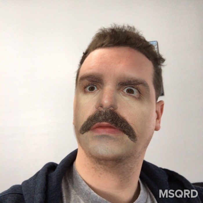 Change your look with live Selfie filters in the MSQRD app.