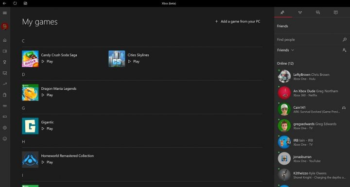 Windows 10 xbox app games