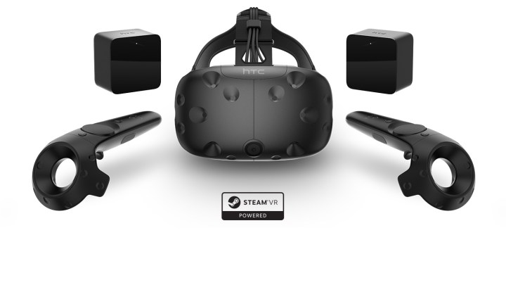 The HTC Vive headset, two motion controllers, and two motion-tracking base stations.