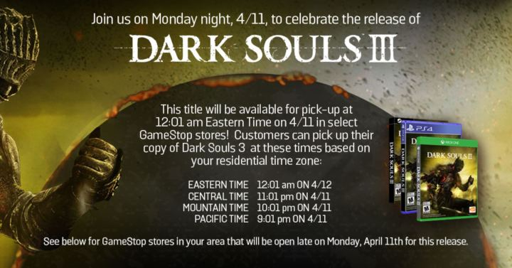 dark souls 3 gamestop pick up