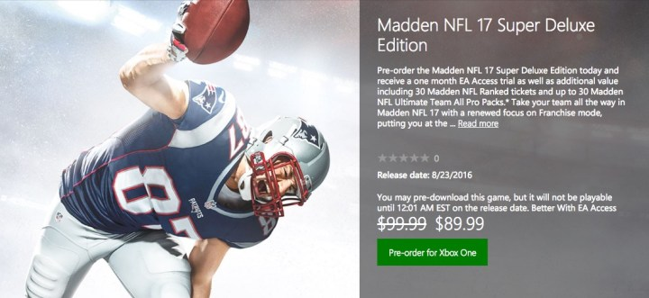 Save up to $10 with EA Access on Madden 17.