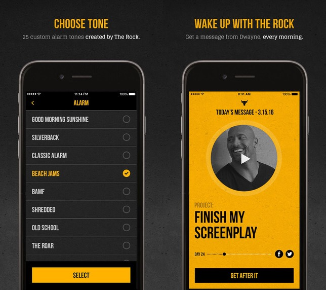 There is no snooze button, but that is The Rock singing to you.