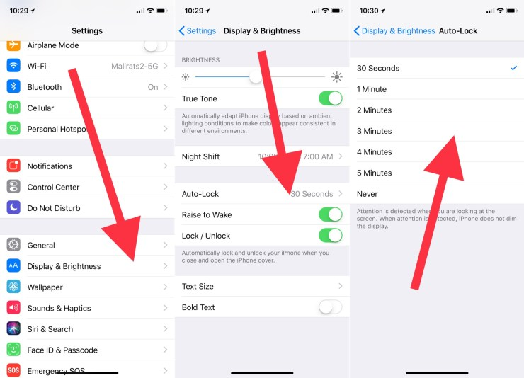 Change the iPhone auto lock time in settings. Change the iPhone auto lock time in settings.