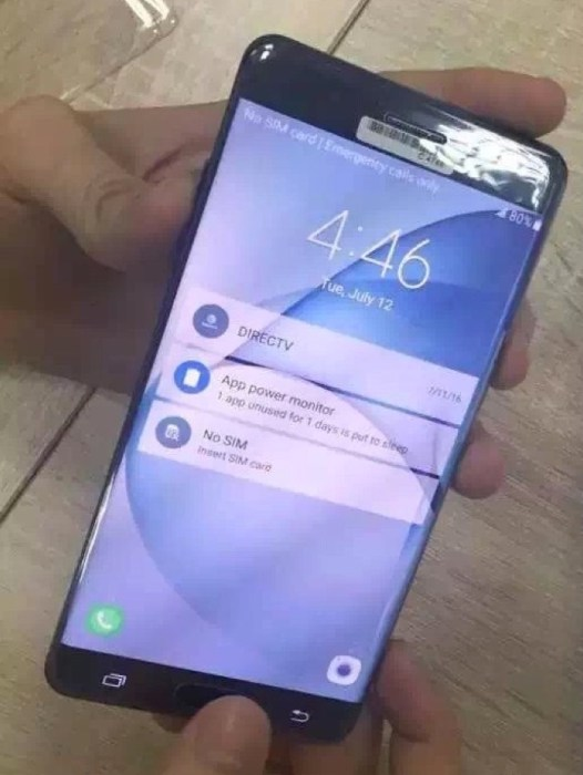 Leaked photo showing the Galaxy Note 7 curved screen
