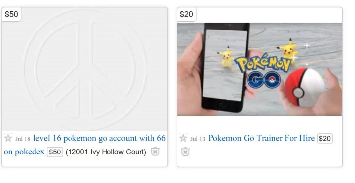 pokemon go account selling