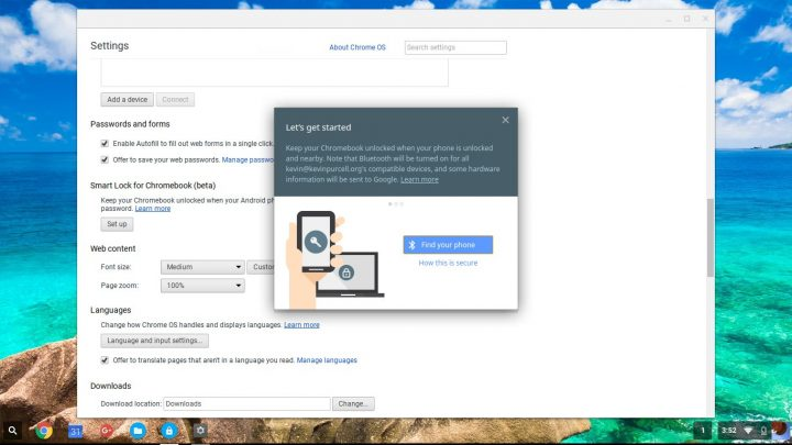 select your phone in smart lock on chromeos
