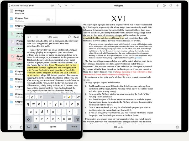scrivener iphone and ipad