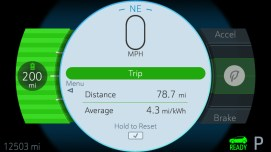 A reconfigurable screen in the instrument cluster of the 2017 Chevrolet Bolt EV offers the choice of several layouts to display vehicle information.