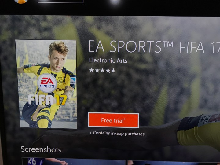 Choose to install the FIFA 17 trial from the Xbox One Store.