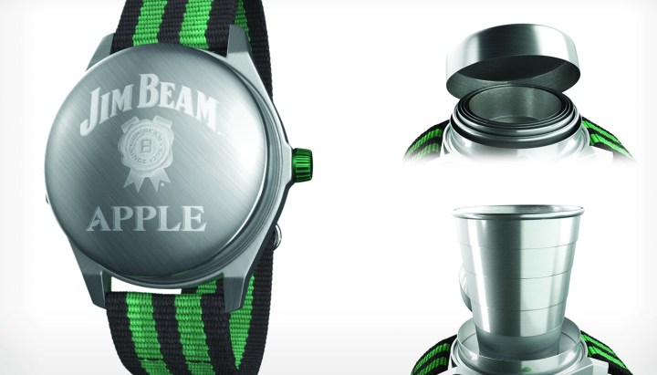 This is the Jim Beam Apple Watch, a wearable, drinkable accessory.