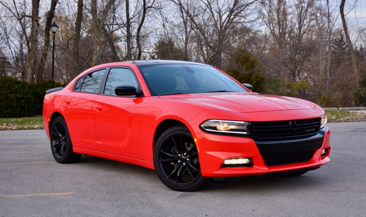 The Dodge Charger SXT attracts attention, and Go Mango only adds to the eye catching design.