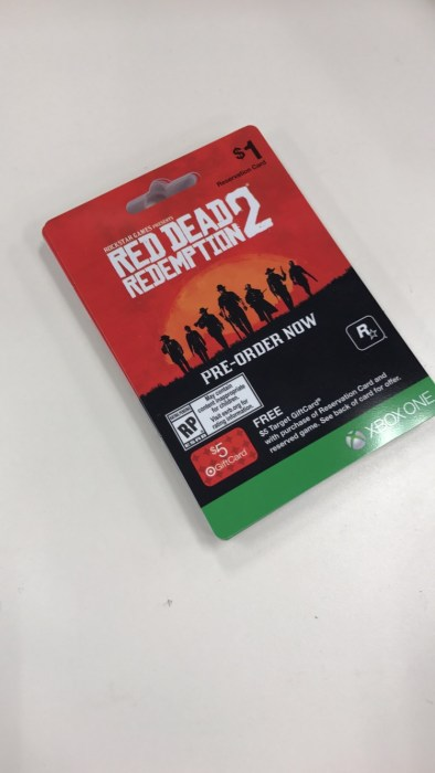 Red Dead Redemption 2 pre-order card.