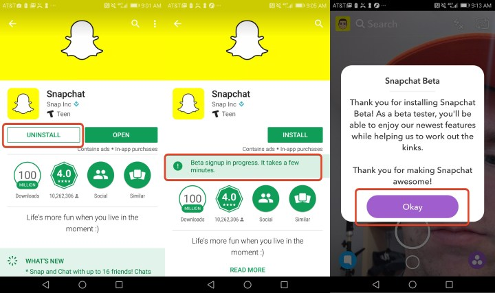 Complete your sign up for the Snapchat beta.