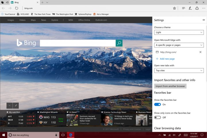 homepage in Microsoft Edge10