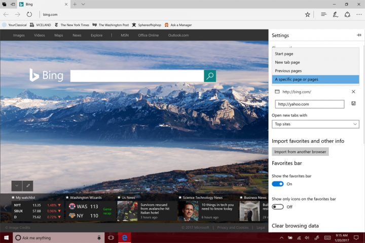 homepage in Microsoft Edge12