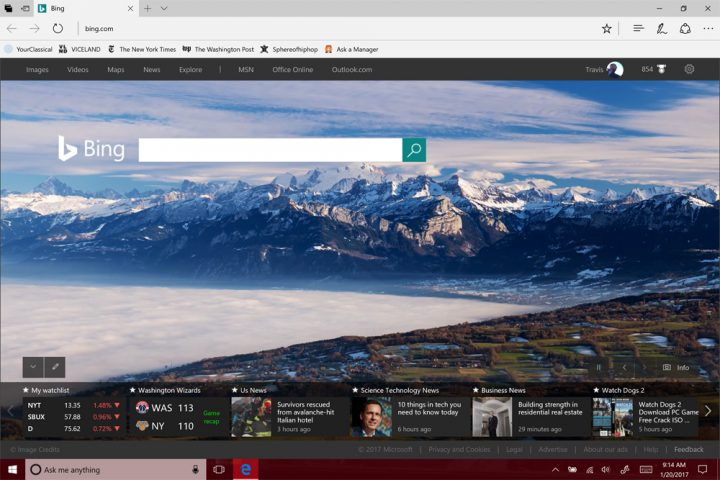 homepage in Microsoft Edge8