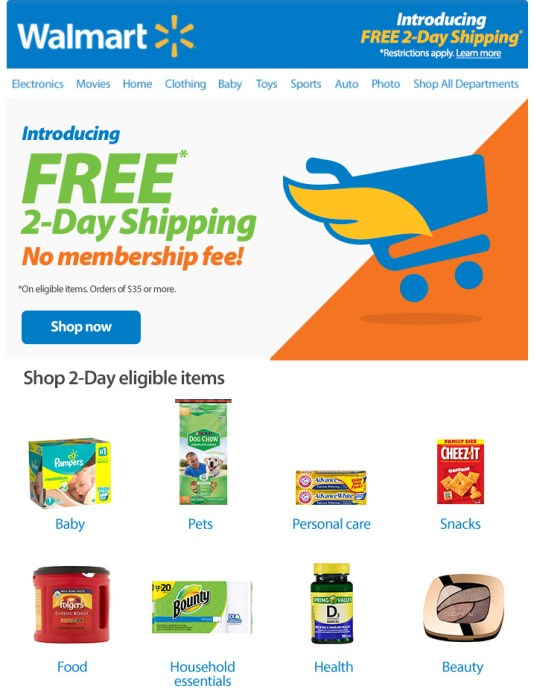 The free two-day shipping at Walmart is available on 2 million items.