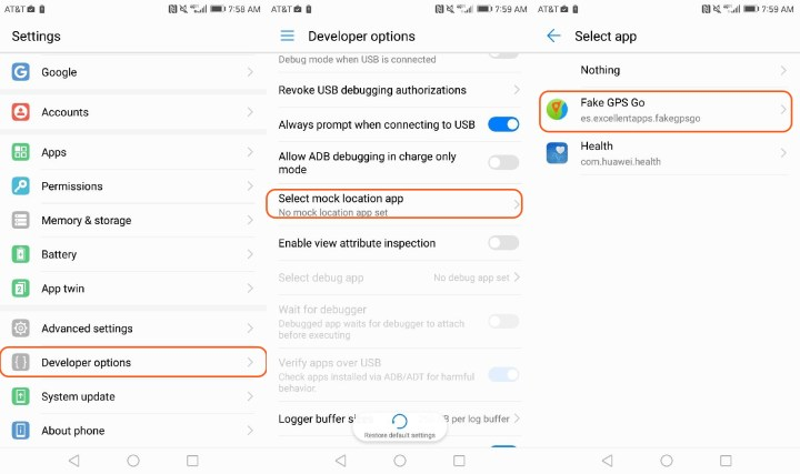 Enable the Fake GPS location app to change your phone's location.