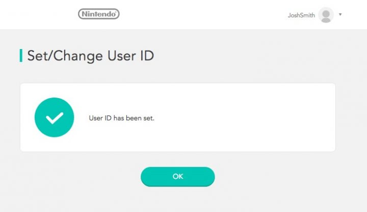 Success. You've registered your Nintendo Switch ID.