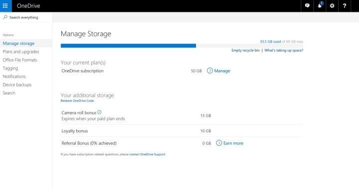 OneDrive online back up